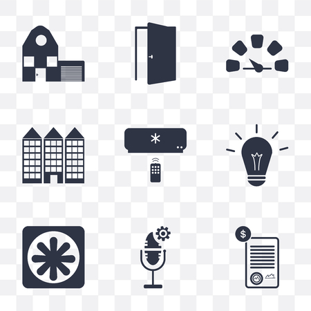 Set Of 9 simple transparency icons such as Contract, Voice control, Cooler, Light, Air conditioner, Building, Meter, Door, Home, can be used for mobile, pixel perfect vector icon pack on transparent Ilustração
