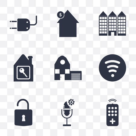 Set Of 9 simple transparency icons such as Remote, Voice control, Unlock, Wifi, Home, House key, Building, House, Plug, can be used for mobile, pixel perfect vector icon pack on transparent Çizim