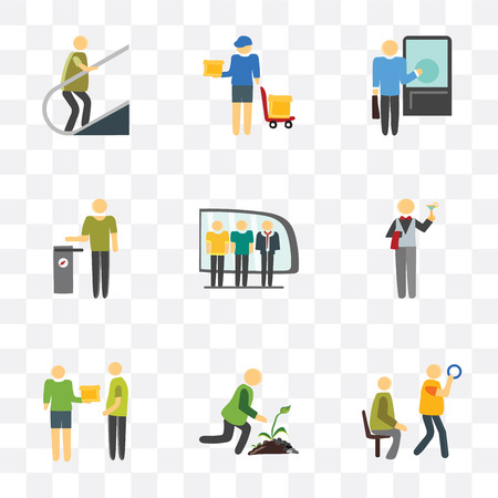 Set Of 9 simple transparency icons such as Public transport, Gardening, Courier, Waiter, Train, Trash, Knocking, Delivery man, Escalator, can be used for mobile, pixel perfect vector icon pack on