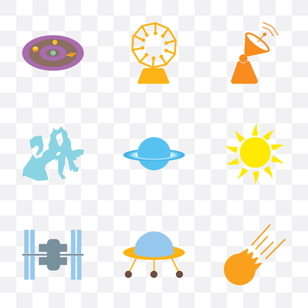 Set Of 9 simple transparency icons such as Meteorite, Space ship, station, Sun, Uranus, Europa, Satellite dish, Stargate, Milky way, can be used for mobile, pixel perfect vector icon pack on Ilustrace