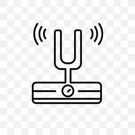 Icono de vector de horquilla de sonido aislado sobre fondo transparente, concepto de logo de horquilla de sonido Logos