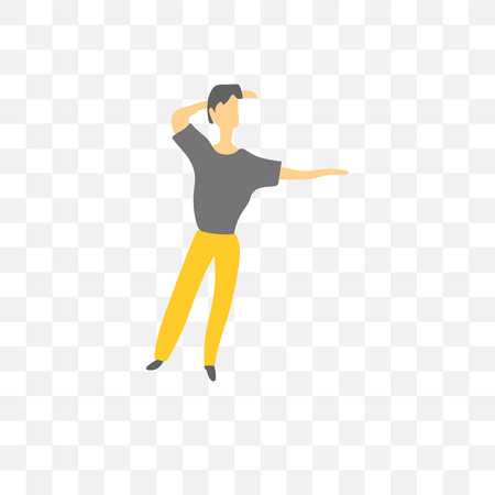 dancing man vector icon isolated on transparent background, dancing man logo concept Vettoriali