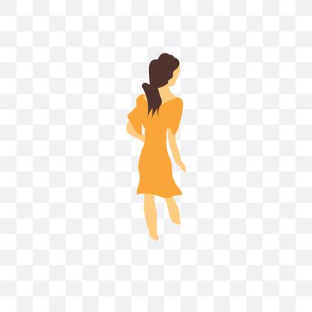 투명 한 배경, 로고 개념을 걷는 여자에 고립 된 벡터 아이콘을 걷는 여자
