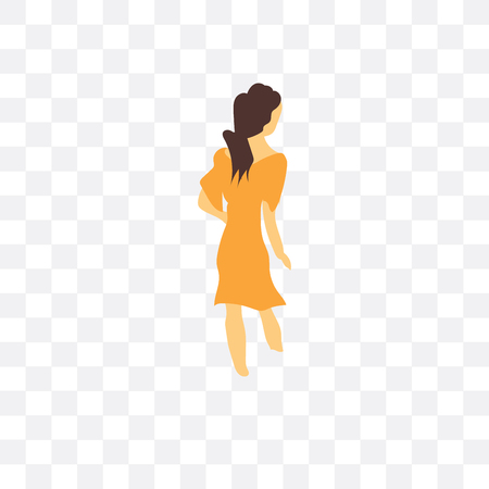 Woman walking vector icon isolated on transparent background, Woman walking logo concept