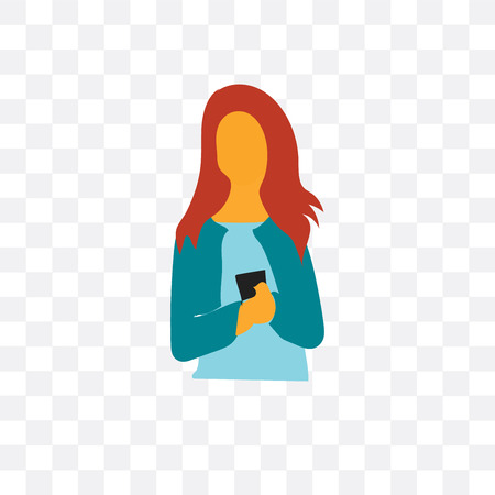 Woman vector icon isolated on transparent background, Woman logo concept Иллюстрация
