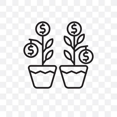 Investieren Sie Vektorikone lokalisiert auf transparentem Hintergrund, Investieren Sie Logo-Konzept