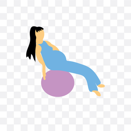 Girl working out with fitness ball vector icon isolated on transparent background, Girl working out with fitness ball logo concept 일러스트