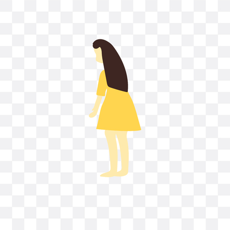 Standing woman vector icon isolated on transparent background, Standing woman  concept