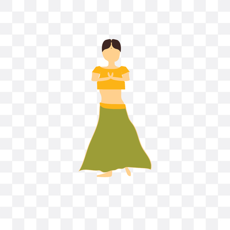 Indian dancer girl vector icon isolated on transparent background, Indian dancer girl  concept