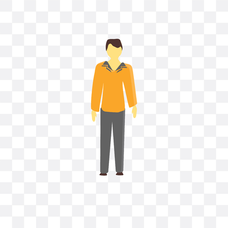 Man with costume vector icon isolated on transparent background, Man with costume logo concept