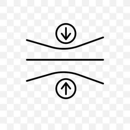 Icono de vector de elasticidad aislado sobre fondo transparente, concepto de logo de elasticidad
