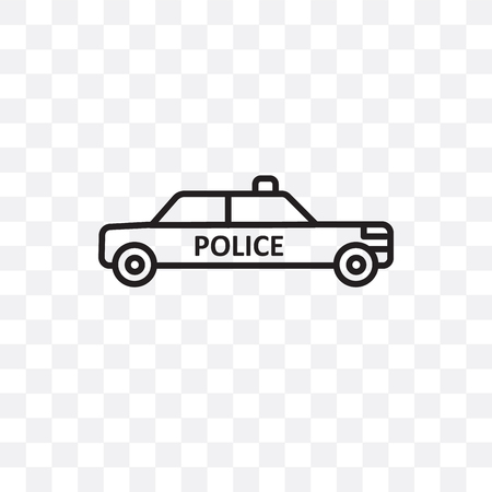 Police car vector icon isolated on transparent background, Police car logo concept Illustration