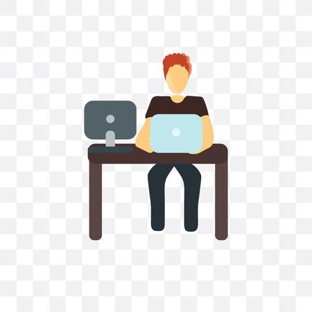 Icône de vecteur de spécialiste informatique isolé sur fond transparent, concept de spécialiste informatique Vecteurs