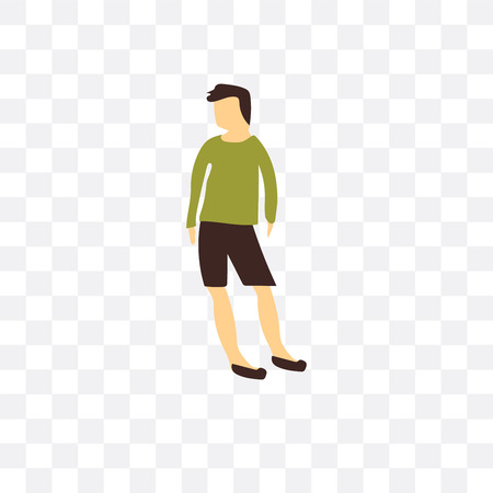 Standing man vector icon isolated on transparent background, Standing man logo concept