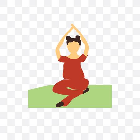 Mujer practicando yoga vector icono aislado sobre fondo transparente, mujer practicando yoga concepto