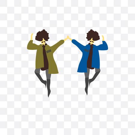 2 hombres bailando icono de vectores aislado sobre fondo transparente, 2 hombres bailando concepto