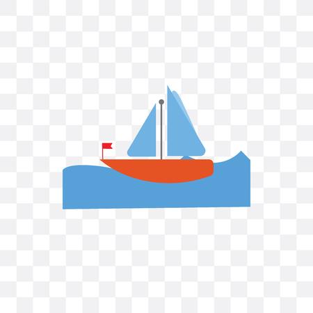 Icône de vecteur de voilier isolé sur fond transparent, concept de voilier Vecteurs