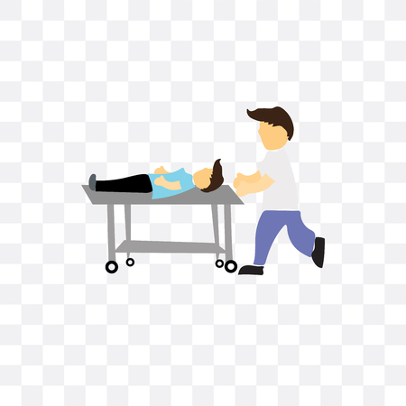 Man lay on medical stretcher vector icon isolated on transparent background, Man lay on medical stretcher concept
