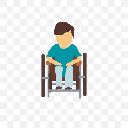 Disabled man sitting in wheelchair vector icon isolated on transparent background, Disabled man sitting in wheelchair  concept