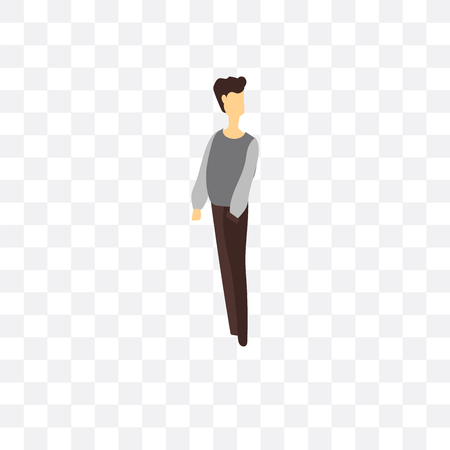 Standing man vector icon isolated on transparent background, Standing man  concept Ilustração