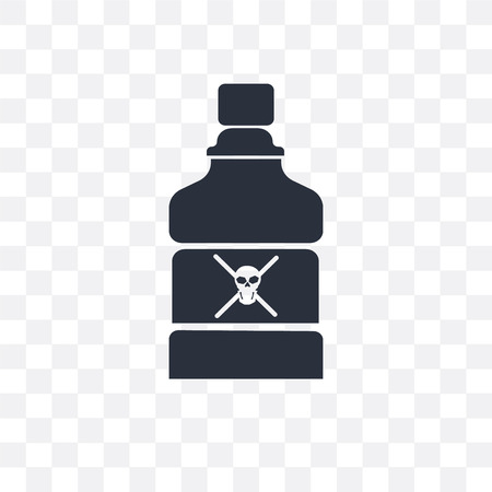 Poison bottle with a skull vector icon isolated on transparent background, Poison bottle with a skull concept