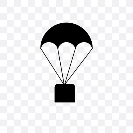 Parachute vector icon isolated on transparent background, Parachute  concept