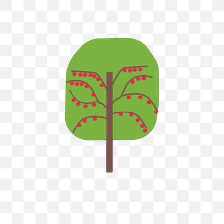Icône de vecteur d'arbre fruitier isolé sur fond transparent, concept d'arbre fruitier
