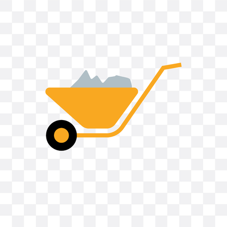Wheelbarrow vector icon isolated on transparent background, Wheelbarrow concept
