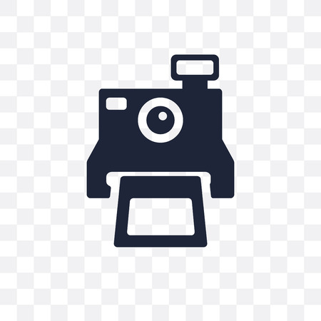 Camera icon in black and white. Simple element vector illustration on transparent background.