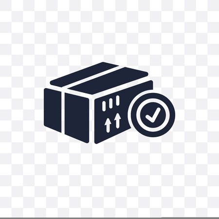 Delivered Box Verification transparent icon. Delivered Box Verification symbol design from Delivery and logistic collection. Vettoriali