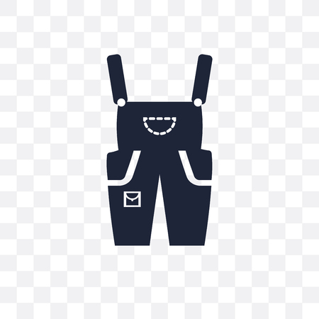 Dungarees transparent icon. Dungarees symbol design from Clothes collection. Simple element vector illustration on transparent background. Standard-Bild - 122912782