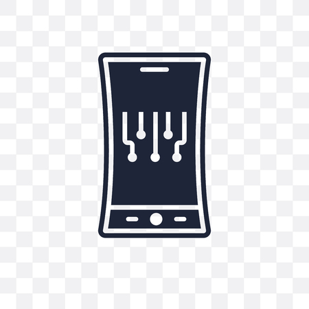 Mobile flexible display transparent icon. Mobile flexible display symbol design from Future technology collection.