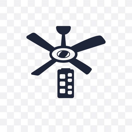 Icono transparente del ventilador de techo. diseño de símbolo de ventilador de techo de colección de dispositivos electrónicos.