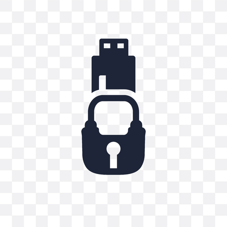 Pendrive security transparent icon. Pendrive security symbol design from Internet security collection. Simple element vector illustration on transparent background.