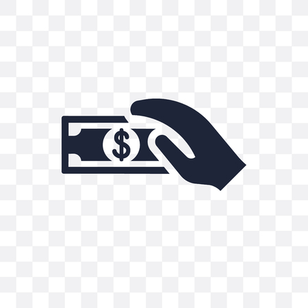 Get money transparent icon. Get money symbol design from Payment collection. Simple element vector illustration on transparent background.