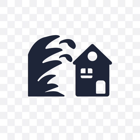 Tsunami coverage for house in transparent icon and symbol design