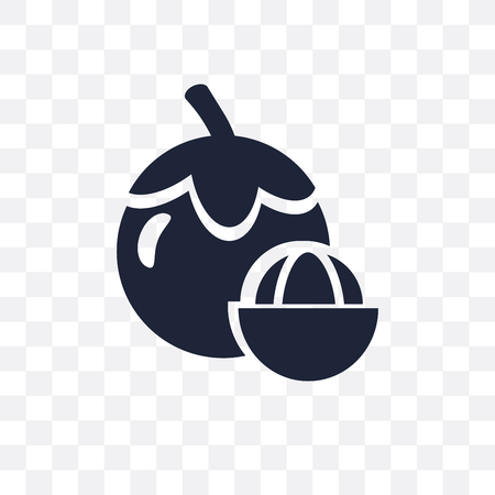 Mangosteen transparent icon. Mangosteen symbol design from Fruit and vegetables collection. Simple element vector illustration on transparent background.