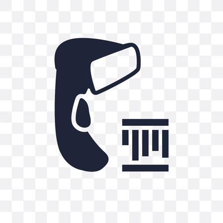 Przezroczysta ikona skanera kodów kreskowych. Projekt symbolu skanera kodów kreskowych z kolekcji urządzeń elektronicznych. Ilustracje wektorowe