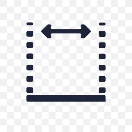 Abmessungen transparentes Symbol. Bemaßungssymboldesign aus der Geometriesammlung. Einfache Elementvektorillustration auf transparentem Hintergrund. Vektorgrafik