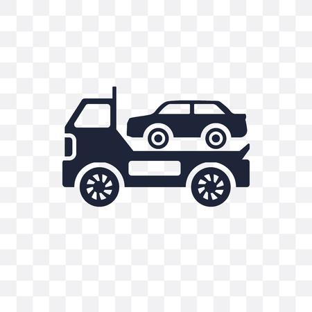 Abgeschlepptes Auto transparentes Symbol. Abgeschlepptes Autosymboldesign aus der Abdeckungssammlung.