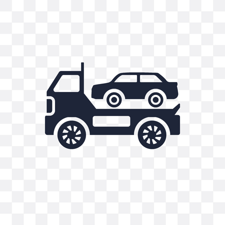 Towed car transparent icon. Towed car symbol design from coverage collection. Ilustracja