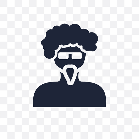 Man face with glasses and goatee transparent icon. Man face with glasses and goatee symbol design from People collection. Simple element vector illustration on transparent background.
