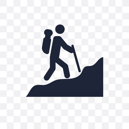 Man in Hike transparent icon. Man in Hike symbol design from People collection. Simple element vector illustration on transparent background.