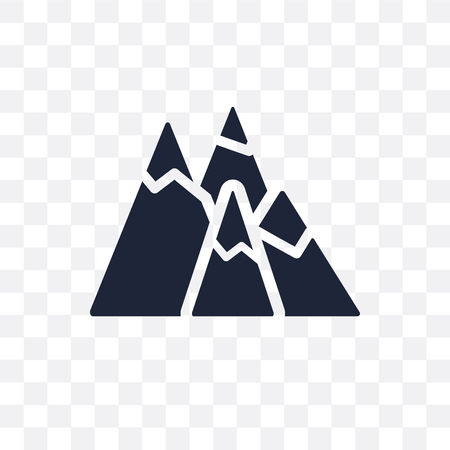 Mountains transparent icon. Mountains symbol design from Nature collection. Simple element vector illustration on transparent background. Иллюстрация