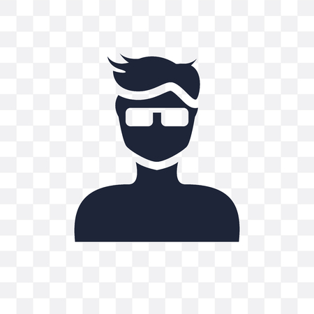 Boy's face with glasses transparent icon and symbol design from People collection. Simple element vector illustration on transparent background.