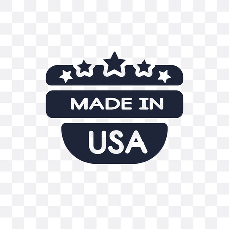 Made in USA transparent icon. Made in USA symbol design from United states of america collection. Simple element vector illustration on transparent background. Çizim