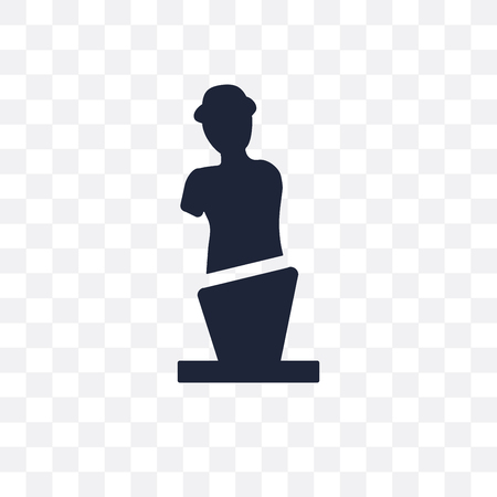 Venus de milo transparent icon and symbol design from sculpture collection. Simple element vector illustration on transparent background.