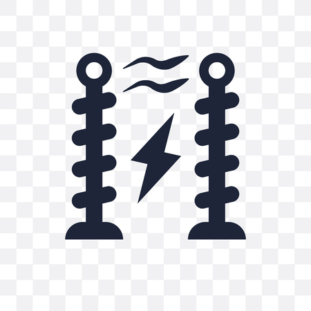 Tesla coil transparent icon and symbol design from Science collection. Simple element vector illustration on transparent background.