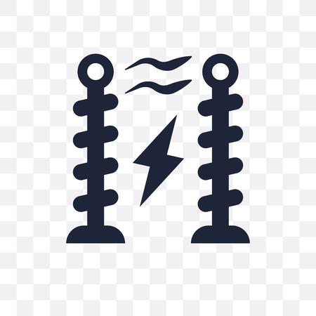 Tesla coil transparent icon and symbol design from Science collection. Simple element vector illustration on transparent background. Standard-Bild - 119696546