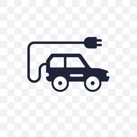 Transparentes Symbol für Elektroautos. Elektroauto-Symboldesign aus der Transportsammlung.